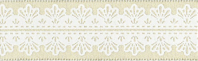 "Solid Wired Ribbon W/White Center Design 1 1/2""X15yd Ivory 546-15-09"