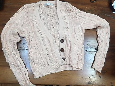 Mink Pink Pastel Pink Cardigan Sweater Knitted Size Small S