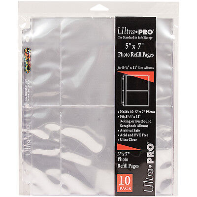 """Ultra Pro 8.5""""X11"""" Refill Pages 10/Pkg For 5""""X7"""" Photos 51310"""