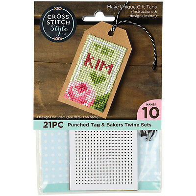 """Gift Tags W/Bakers Twine Punched For Cross Stitch 4""""X2"""" 10/Pkg 60047"""