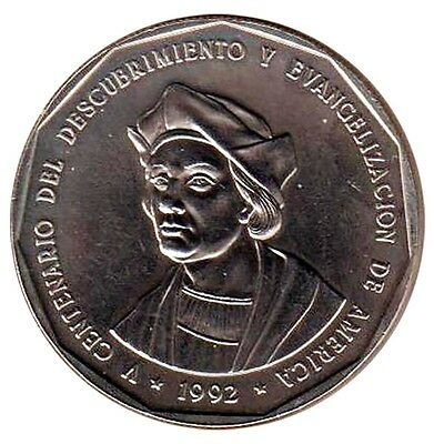 Dominican Republic 1 Peso, 31.1g Copper/Nickel Coin,1992,KM#82,Mint,500th Anniv.