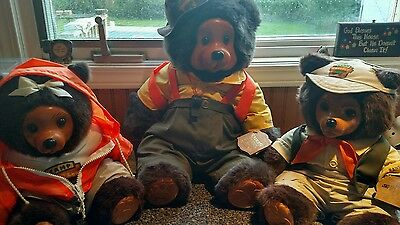 3 Raikes Bears- Camp Grizzly Wendell, Hillary & Jeremy.  All Limited Editions.