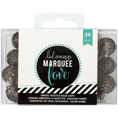 "Heidi Swapp Marquee Love Bulb Caps .75"" 24/Pkg Etched Gray HS312449"