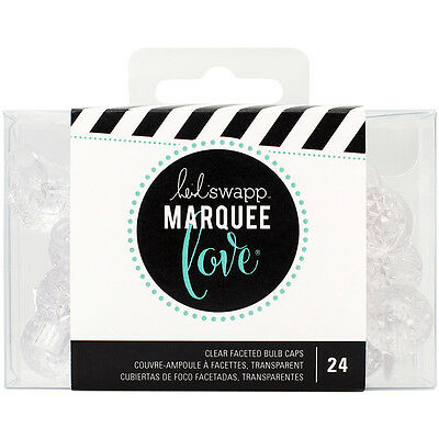 """Heidi Swapp Marquee Love Bulb Caps .75"""" 24/Pkg Etched Clear HS312450"""