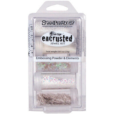 Stampendous Encrusted Jewel Embossing Powder & Elements White EJK08