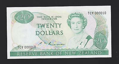 New Zealand 20 Dollar, S T Russell, 1985-89, Ex Low serial #000010, UNC