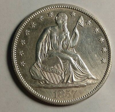 1857 Seated Liberty Half Dollar UNC Details Sharp Coin!