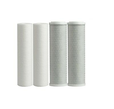 2 Set Replacement UnderSink Water Filter Cartridges Carbon + Sediment Sub Micron
