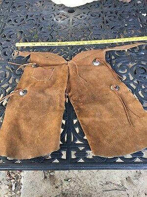 Western Brown Fringe Riding Chaps Vintage Concho Childs Horse
