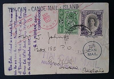 1937 Tonga Tin Can Mail Cover ties 2 stamps to Griffith Australia