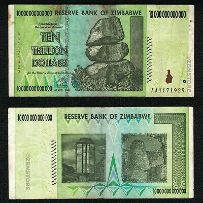 10 Trillion Zimbabwe Dollars Bank Note AA 2008 ~ RARE ~ 100 & 50 Trillion Series