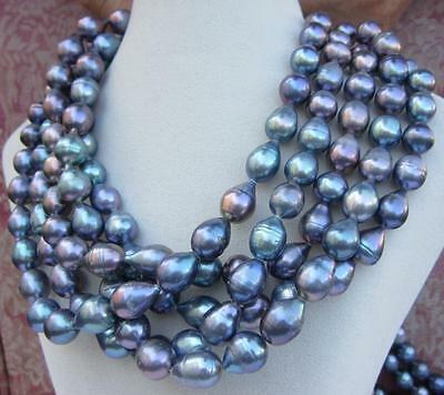 "HOT Huge 11-14mm SOUTH SEA black blue baroque pearl necklace 100"" 14K Gold clasp"