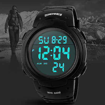 Men Military LED Alarm Outdoor Sport Digital Dress Watch Rubber Band Casual 1450