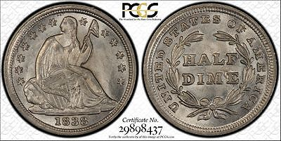 1838 P No Drapery Seated Liberty Silver Half Dime (H10C), PCGS MS 63 CAC