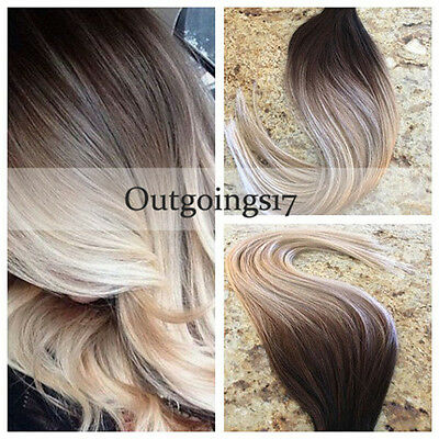 Brazilian Remy Tape-In Real Human Hair Extensions Ombre Blonde Straight 40Pcs