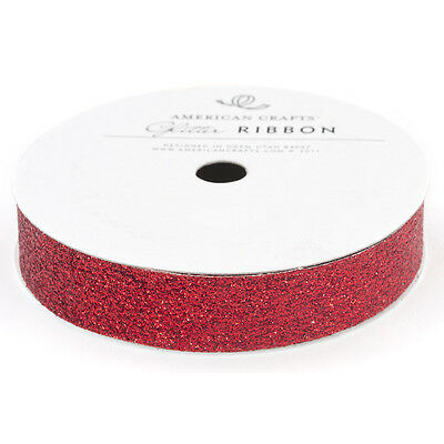 "Solid Glitter Ribbon .625""X3yd Rouge AC58649"