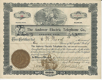 1902 THE ANDOVER ELECTRIC TELEPHONE COMPANY Stock Cert Virginia Pays Cancer Bill