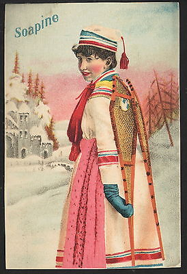 Vintage Victorian Trade Card Advertising Soapine, Woman with Snowshoes on back