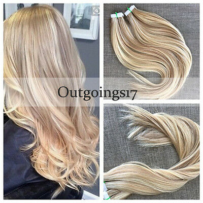 Brazilian Remy Tape-In Human Hair Extensions Highlighted Blonde Straight 40Pcs