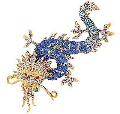 Butler and Wilson Blue Enamel Crystal Chinese Dragon Brooch NEW