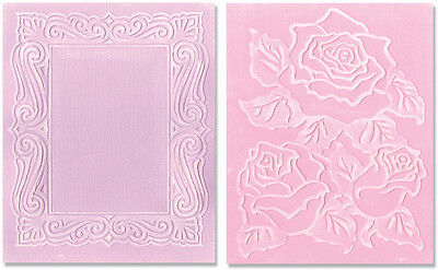 Sizzix Textured Impressions A2 Embossing Folders 2/Pkg Roses & Frame 657670