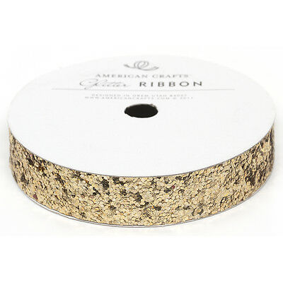 "Solid Large Glitter Ribbon .625""X3yd Gold AC58697"