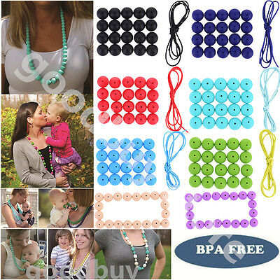 BPA-Free Safety Silicone Baby Teether Teething Beads DIY Bracelet Necklace Beads