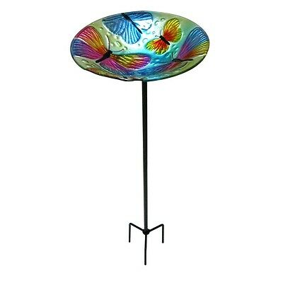 Garden Treasures 30-in H Round Glass Birdbath