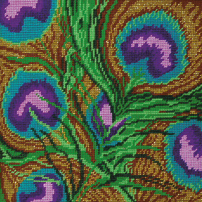 """Peacock Needlepoint Kit 10""""X10"""" Stitched In Yarn DW2518"""