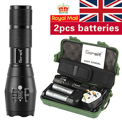 UK 5000LM Shadowhawk X800 Flashlight Cree T6 LED Zoomable Torch set 2pcs battery