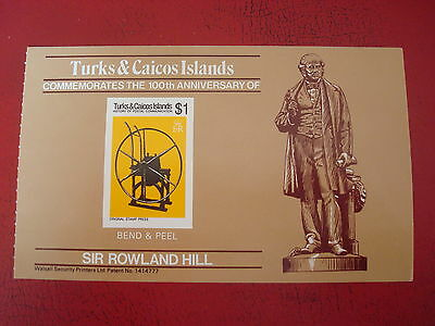 Turks & Caicos - Sir Rowland Hill - Bend & Peel Sheet - Ex Condition