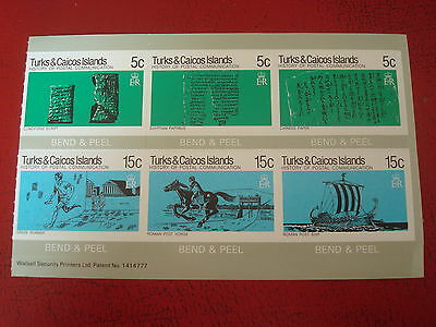 Turks & Caicos - Postal Communication - Bend & Peel Sheet - Ex Condition