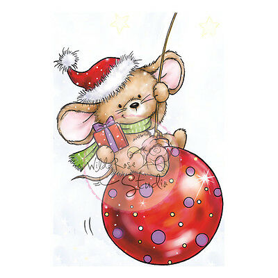 """Wild Rose Studio Ltd. Clear Stamp 3.5""""X3"""" Sheet Mouse On Bauble WRSCL425"""