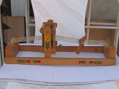 VINTAGE ANTIQUE HANDMADE SMALL CHILD'S WOODEN WEAVING LOOM-70s