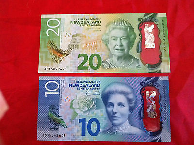 New Banknote Zealand Nz $10 & $20 Unc New Polymer Design Gem Bank Notes