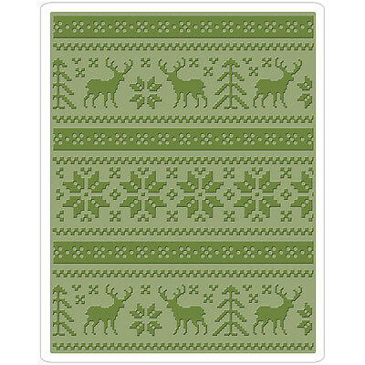 Sizzix Texture Fades A2 Embossing Folder Holiday Knit By Tim Holtz 661365
