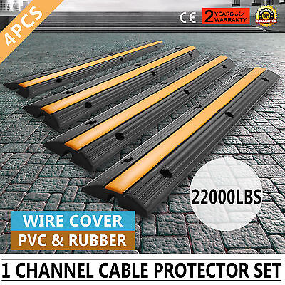 4pcs 1-Channel Rubber Electrical Wire Cover 22000lbs PVC & Rubber Heavy Duty