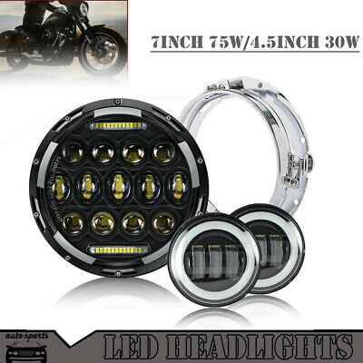 "7 Inch Black Motorcycle Daymaker Led Headlights White Halo 4.5"" Fog Light Harley"