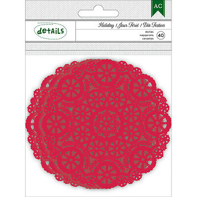 """Holiday Details Paper Doilies 40/Pkg Red 4.25"""" 340545"""