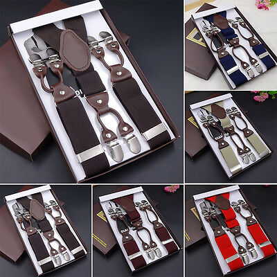New Leather Alloy 6 Clips Male Vintage Casual Suspenders Man's Braces Strap 1X