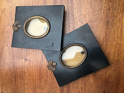 Pair Of Antique 19Th C Miniature Ebonised Wooden Glazed Oval Frame/acorn Hanger