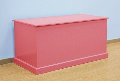 Large Wooden Toy Box Childrens Storage Bench Kids Chest Pink Playroom Unit New