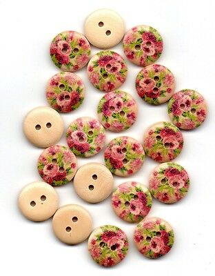 New 20pcs, Pink flower, Wood Buttons, 2-hole, 15mm, Sewing, Knitting, Crafts