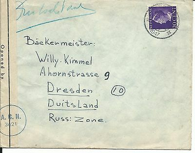 1947 Holland Eindhoven 20 c Wilhelmine Dresden Allied Censorship (Neth.) Zensur