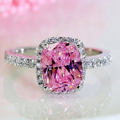 Sterling Silver 3ct Pink Sapphire CZ Ring