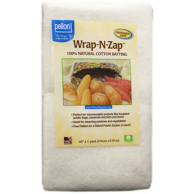 "Wrap N Zap 100% Natural Cotton Batting 45""X36"" WZ-45"