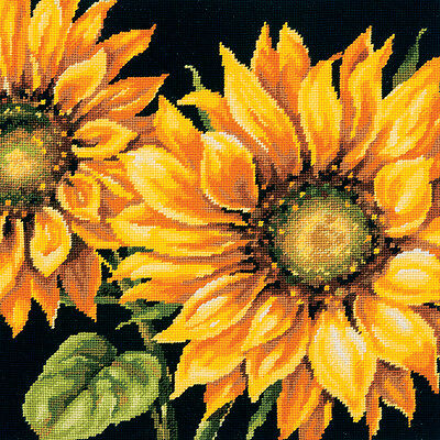 """Dramatic Sunflower Needlepoint Kit 14""""X14"""" Stitched In Wool 71-20083"""