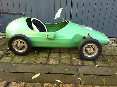 Old vintage steel bodied pedal racing car barn find toy classic british 1950's