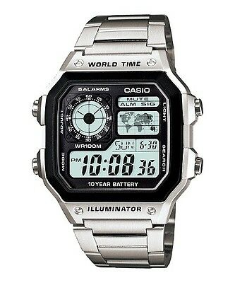 Casio Men's Digital World Time Watch, Stainless Steel, AE-1200WHD-1AVEF