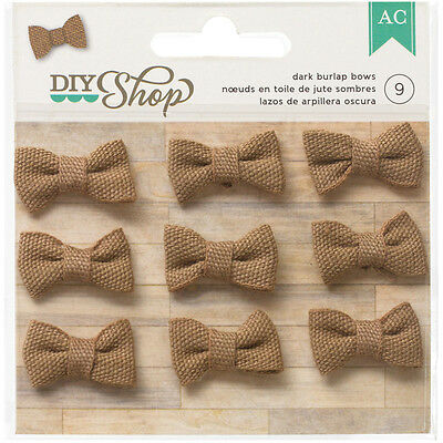 "DIY Shop Burlap Bows 1"" 9/Pkg Dark 366627"